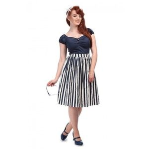 Collectif Navy Striped Skirt